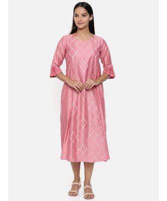 mayank modi  Pink linen satin embroidered dress.