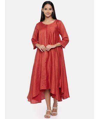 mayank modi  Rust orange high low dress with center show potlis.
