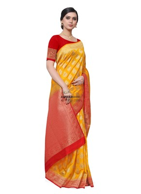 Yellow hand woven dupion silk saree