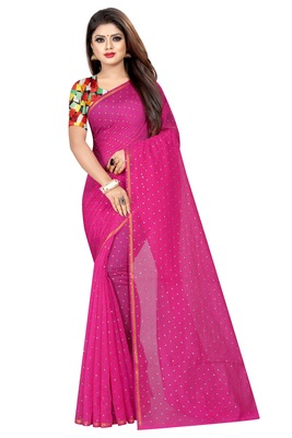 Magenta plain chanderi saree with blouse