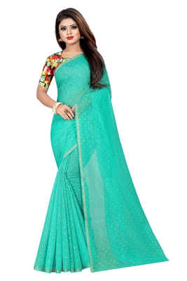 Sea green plain chanderi saree with blouse