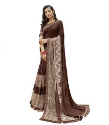 Brown embroidered lycra saree with blouse