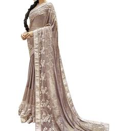 Grey embroidered lycra saree with blouse