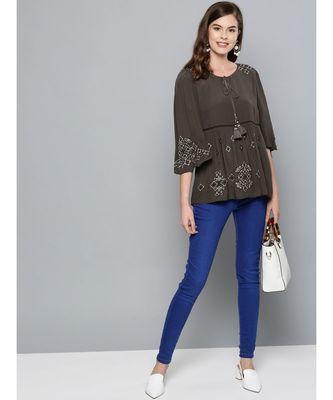 Label Ritu Kumar Grey 3/4 Sleeves Short Top