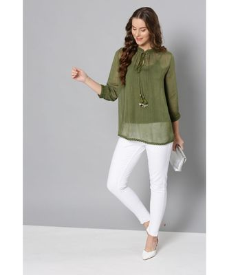 Label Ritu Kumar Green Full Sleeves Embroidered Short Top With Camisole