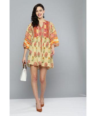Label Ritu Kumar Beige Printed Long Tunic