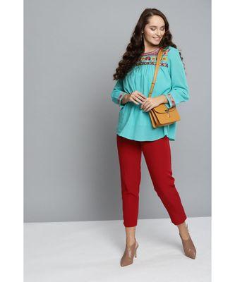 Label Ritu Kumar Green 3/4 Sleeves Printed Top