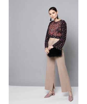 Label Ritu Kumar Black Full Sleeves Short Top