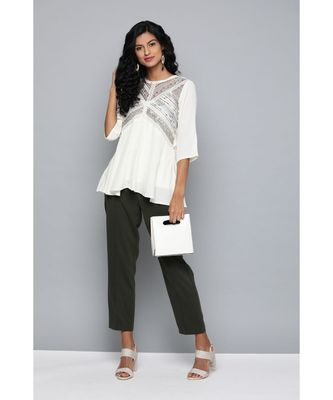 Label Ritu Kumar Off White Top With Camisole