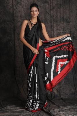 Black printed pure silk saree with blouse