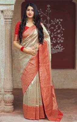 Cream woven banarasi saree with blouse