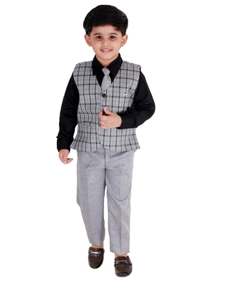 Black printed cotton silk boys-suit
