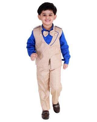 Blue printed cotton silk boys-suit