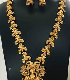 Temple design Long Gold Laxmi Pendant Necklace Earring set