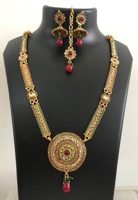 Long Polki maroon green necklace jhumka earring tikka set