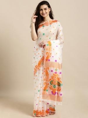 white woven cotton saree with blouse