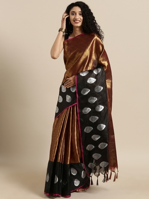 copper woven tissue saree with blouse