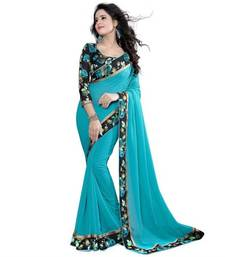 Light blue embroidered georgette saree with blouse