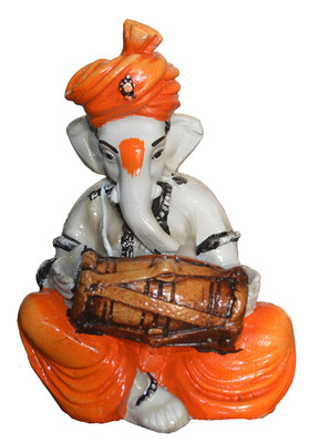 Polyresine Ganesha Playing Dholak Idol