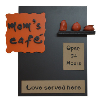 Wood + Polyresine Moms Cafe Kitchen Name plate