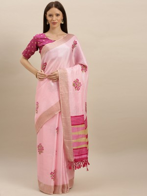 pink woven jute saree with blouse