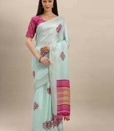 light-blue woven jute saree with blouse