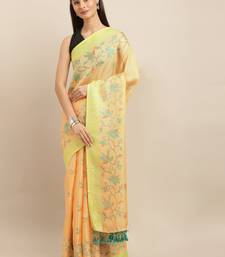 orange woven jute saree with blouse