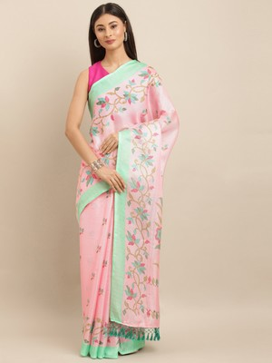 baby-pink woven jute saree with blouse