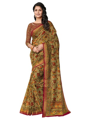 Olive printed cotton saree with blouse
