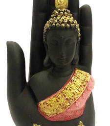 Buy Multicolor Buddha embossed in a Palm - Peach sculpture online