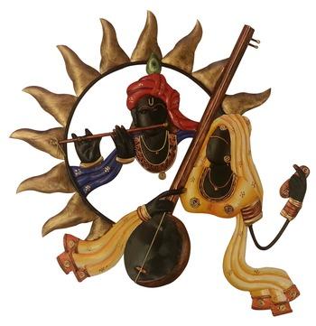 Wrought Iron Wall Hanging Radha playing iktara Krishna playing bansuri