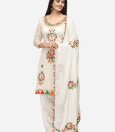 White Unstitched Women's Dress Material