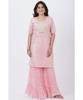 Baby Pink Love Short Kurti with Crushed Sharara