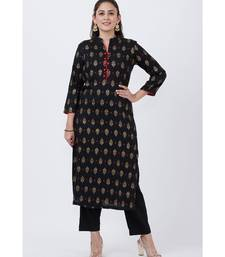 Black Khadi Printed Kurti with Pants