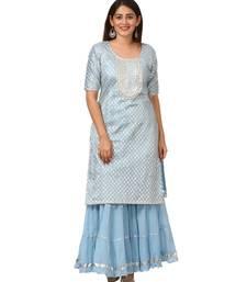 Blush Blue Silver Dot Short Kurti with Crushed Sharara