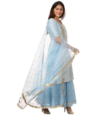 Blush Blue Silver Dot Short Kurti with Crushed Sharara and Dupatta