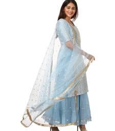 Blush Blue Silver Dot Short Kurti with Crushed Sharara and Dupatta