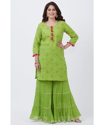 Pista Green Short Kurti with Crushed Sharara