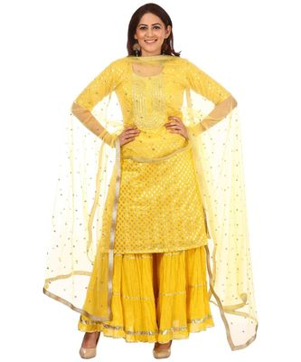 Lemony Lemon Gotta Short Kurti with Gathered Sharara and Sequenced Net Dupatta