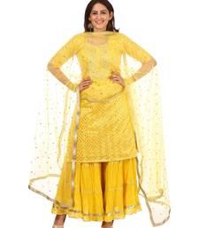 Lemony Lemon Gotta Short Kurti with Gathered Sharara and Sequenced Net Dupatta