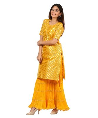 Yellow Basanti Kurti with Crushed Sharara