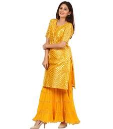 Yellow Basanti Kurti with Crushed Sharara