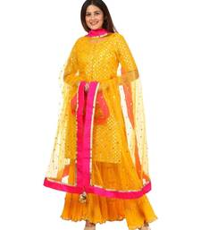 Yellow Basanti Kurti with Crushed Sharara and Net Sequenced Dupatta