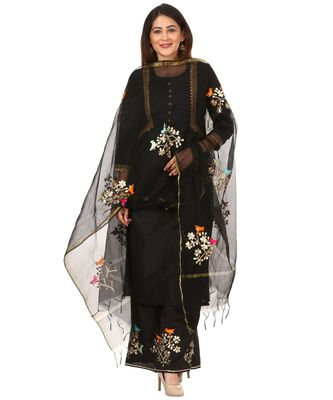 Black Silk Jacket Style Kurti with Embroidered Birds Gotta Palazzo and Birds Dupatta