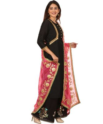 Black Silk Jacket Style Kurti with Embroidered Birds Gotta Palazzo and Pink Gotta Leheriya Dupatta