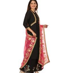 Black Silk Jacket Style Kurti with Embroidered Birds Gotta Palazzo and Pink Gotta Leheriya Dupatta