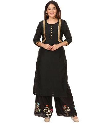 Black Silk Jacket Style Kurti with Embroidered Birds Gotta Palazzo