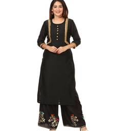 Black Silk Jacket Style Kurti with Embroidered Birds Gotta Palazzo