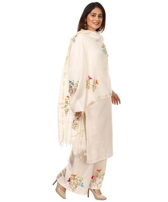 OffWhite Shine Kurti with Embroidered Birds Gotta Palazzo and Embroidered Dupatta