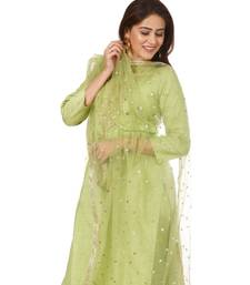 Pista Green Embroidered Kurti and Straight Pants with Pista Green Net Dupatta